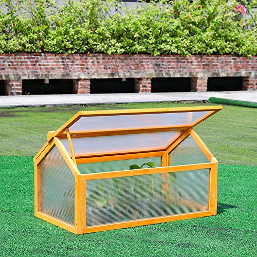The Fellie Wooden Cold Frame Outdoor Polycarbonate Garden Mini Greenhouse Raised Vegetable Bed Planter, 90Lx66Wx49.5H(cm)