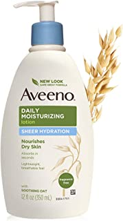 Aveeno Sheer Hydration Daily Moisturizing Lotion for Dry Skin with Soothing Oat, Lightweight, Fast-Absorbing & Fragrance-Free Intense Body Moisturizer, 12 fl. oz