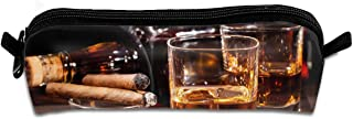 Diemeouk Pencil Case Whiskey Cigars Alcohol Zippered Pen Bag Cosmetic Makeup Bags for Colored Watercolor Pencils
