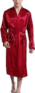 Mobarta Men's Satin Kimono Robe Long Bathrobe Lightweight Loungewear Sleepwear Silk Nightwear Spa Bathrobes