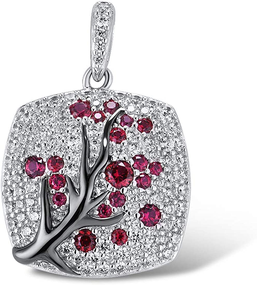 Santuzza 925 Japan's largest assortment Sterling Deluxe Silver Delicate Pendants Shiny Tree Cherry