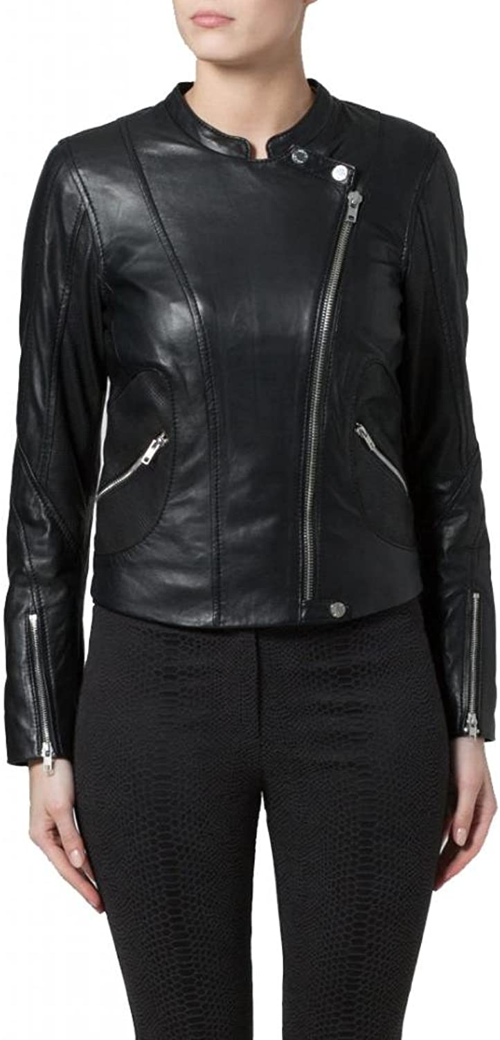 Leather Women's Lambskin Leather Bomber Biker Jacket W058