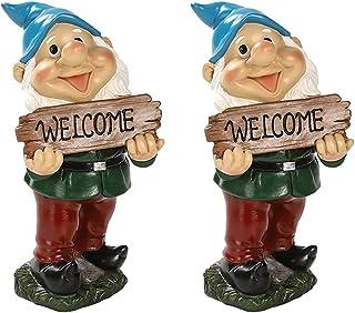 Yardwe 2Pcs Trädgård Gnome Statue Gnome Välkommen Sign Statue Resin Gnome Dekoration Fairy Gardening Gåvor För Gård Patio ...