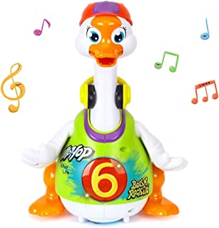 Yiosion Hip Hop Dancing Swing Goose Musical Learning Action Educational Walking Light Up Toy for 1 Year Old Baby Toddler Infant