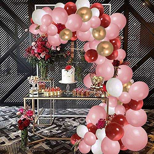 SPECOOL ballonnen Arch Garland Kit, 115 stuks Macaron roze, witte, rode, gouden metallic ballonnen voor bruiloft verjaardagsfeestje baby shower voorstel decoraties verjaardag, kerst