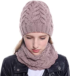 TozuoyouZ Womens Winter Beanie Hat Scarf Set Warm Knit Thick with Faux Fur Pompom Ski Cap Wool Knit Hat