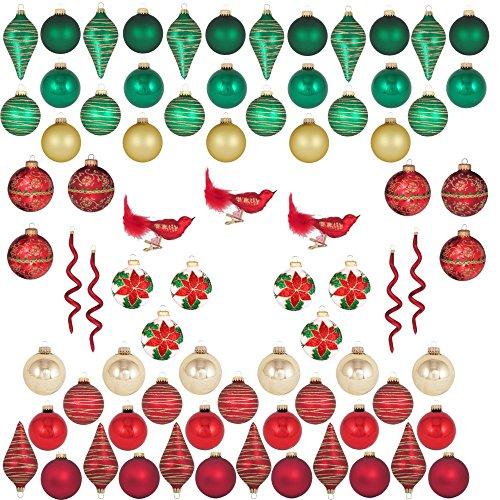 Christmas by Krebs AM770001A - Set di 66 decorazioni per albero in vetro, con clip in miniatura e cavatappi