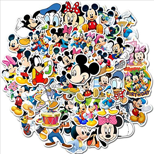 YZFCL Mickey Minnie Cartoon Sticker Cute Mickey Mouse Waterproof Sticker Luggage Notebook Refrigerator Children Paste 50Pcs