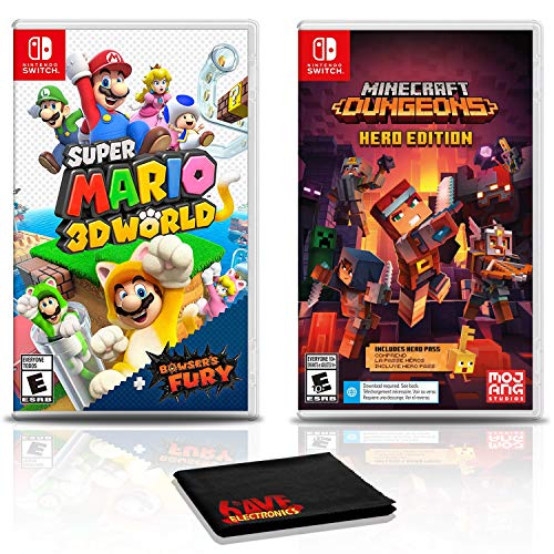 Super Mario 3D World + Bowser's Fury Game Bundle with Minecraft Dungeons Hero Edition - Nintendo Switch