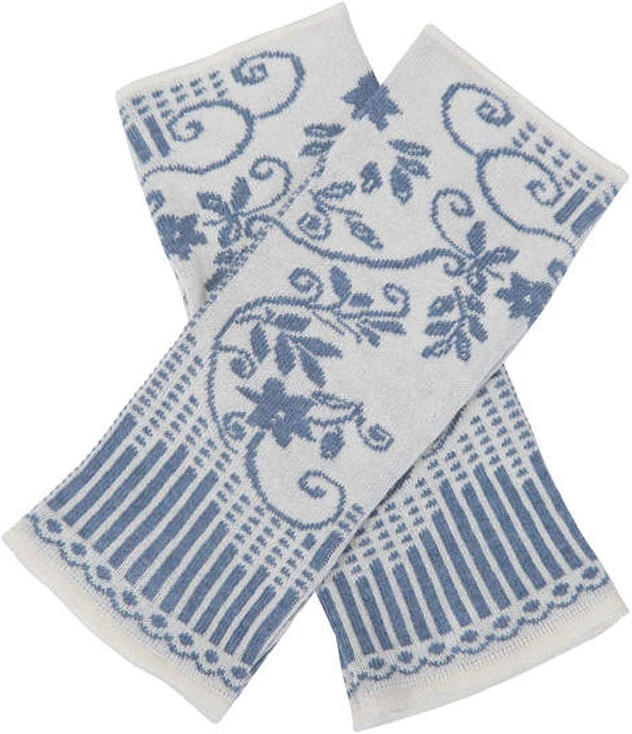 IVKO Jacquard Pullwarmers, Off White ǀ Viscose Cotton Arm Warmers Fingerless Gloves Thumbhole Mittens