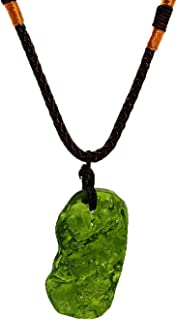 Moldavite Crystal Necklace, Irregular Stone Pendant...
