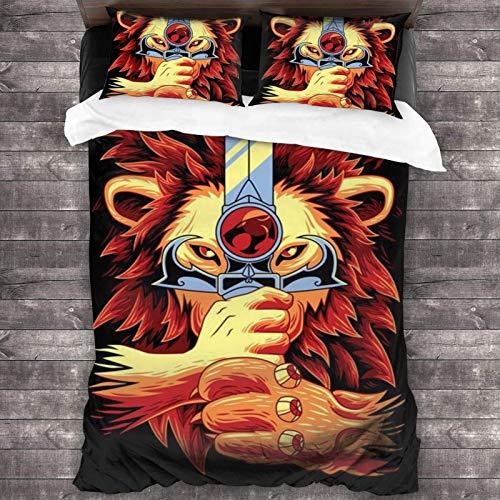 Jnsio Duvet Cover Set with Zipper Closure, Ultra Soft Lion Cat Comforter Cover Sets 3 Pieces (1 Duvet Cover + 2 Pillow Shams) C2459