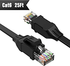 Cat 6 Ethernet Cable (at a Cat5e Price but Higher Bandwidth) Flat Internet Network Cable - Cat6 Ethernet Patch Cable Short - Computer LAN Cable with Snagless RJ45 Connectors Support 1Gbps 250Mhz black New 25ft Black 25ft black