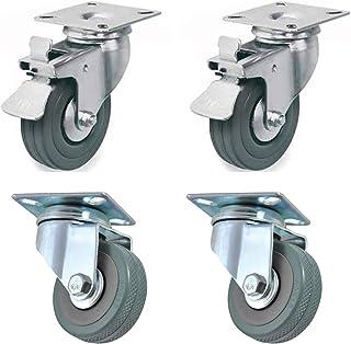 4 wielen van 50 mm met rem voor transport, gemakkelijk te verplaatsen, geschikt voor alle oppervlakken (50 mm), roestvrij,...