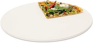 Relaxdays Pizzastein rund, Steinplatte für Pizza & Flammkuchen, Backstein für Ofen..