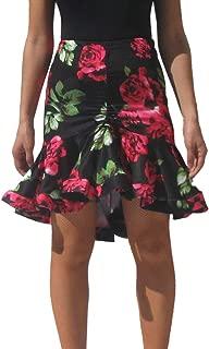 Whitewed Short Flare Ruffle Latin Rumba Tango Salsa Cha Cha Dance Practice Skirt