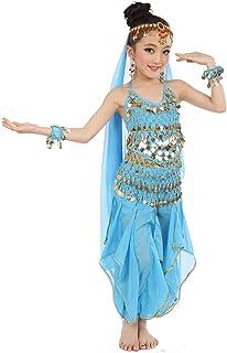 طقم زي تنكري للأطفال من Cielary مطبوع عليه Belly Dance Halter Top Harem ملابس الهالوين مع وشاح للرأس وسلسلة خصر وأساور
