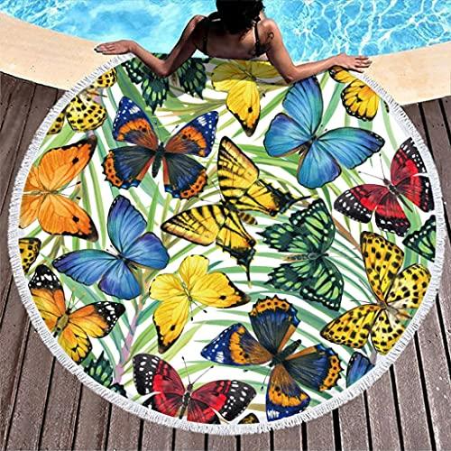Schmetterling Blumen Strandtuch Rund Mikrofaser Strandtücher Leicht Strandhandtuch Badetuch Picknickdecke Strandmatte Yogamatte Handtücher für Zwei Personen White 150 cm