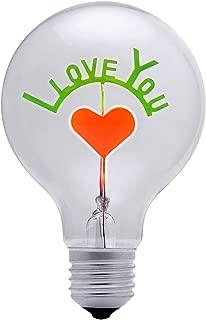 DarkSteve - I Love You Decorative Light Bulb - Edison Light Bulb, Antique Vintage Style Light, G80 Size, E26 Base, Non-Dimmable (3w/110v) #1 Unique Gift
