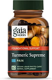Gaia Herbs, Turmeric Supreme Pain, Herbal Pain Supplement with Curcumins, Vegan Liquid Capsules, 60 Count