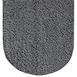 Gorilla Grip Original Luxury Chenille Bath Rug Mat, 42x24, Extra Soft and Absorbent Large Oval Shaggy Bathroom Rugs, Machine Wash Dry, Plush Carpet Mats for Tub, Shower, and Bath Room, Grey