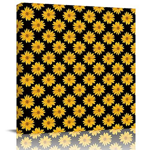 HOMMOU Lienzo impreso en lienzo para la oficina, el hogar, decoración de la pared, girasoles en negro, arte moderno, cuadro enmarcado para sala de estar, cocina, baño, 50,8 x 50,8 cm