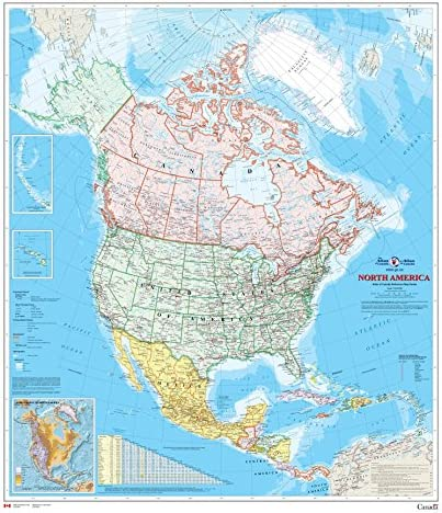 North America Wall Map Atlas of Canada 34 x 39 Paper product image