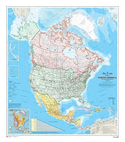 North America Wall Map - Atlas of Canada - 34' x 39' Paper