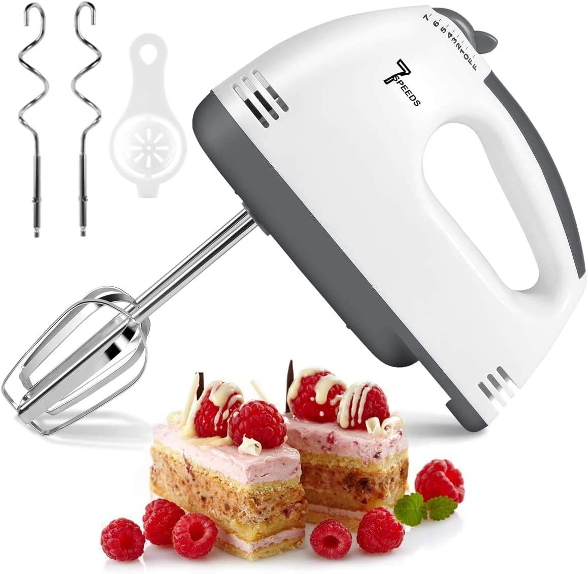Hand Mixer Electric, 2021 7-Speeds Lightweight Powerful Handheld Electric Mixer, Portable Kitchen Mixer Stainless Steel Egg Whisk with Egg White Separator, Egg Sticks + Dough Sticks for Baking, Cakes