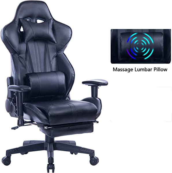 ZOPPO Gaming Chair With Adjustable Massage Lumbar Pillow Retractable Footrest And Headrest Racing Ergonomic High Back PU Leather Office Computer Executive Desk Chair Black