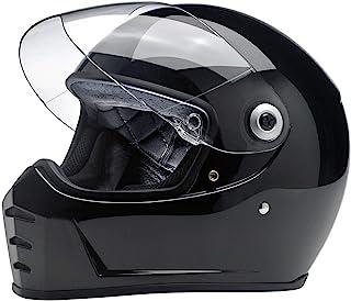 Biltwell Lane Splitter - Casco de moto de cara completa, color negro brillante