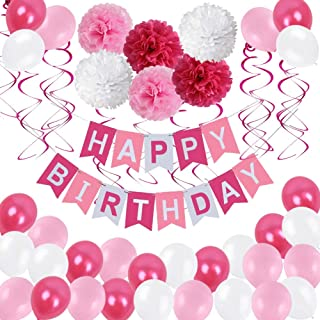 Birthday Decorations,Birthday Party Supplies for girl and women include 62Pcs Banner Rose and Pink Balloons for 7th 10th 13th 16th 18th 19th 20th 21st 22nd 24th 25th 30th 40th 50th 60th Party Supplies