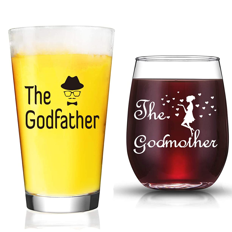 一貫性のない特権ウールJERIO Godparentギフト ゴッドマザー ワイングラス ゴッドファーザー ビールグラス ゴッドパーマへの贈り物
