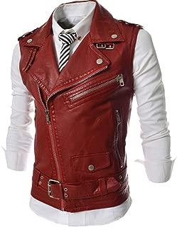 Aishang Men's Oblique Zipper Belt Decoration Sleeveless Leather Biker Bomber Jacket Vest
