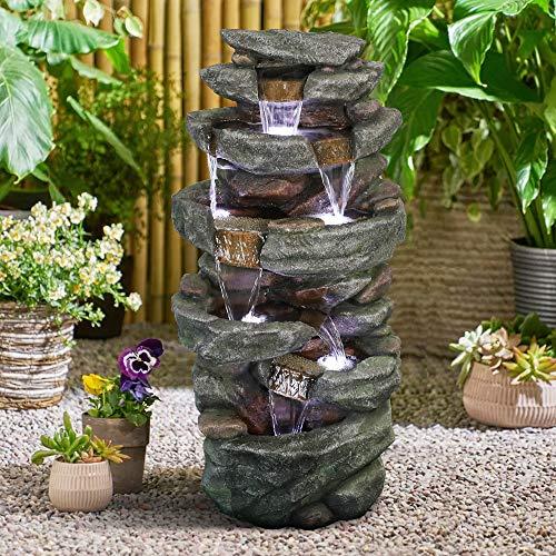 Fuente de agua de 103 cm para exteriores, 6 niveles con luces LED, tranquilidad para el jardín de casa, decoración de patio