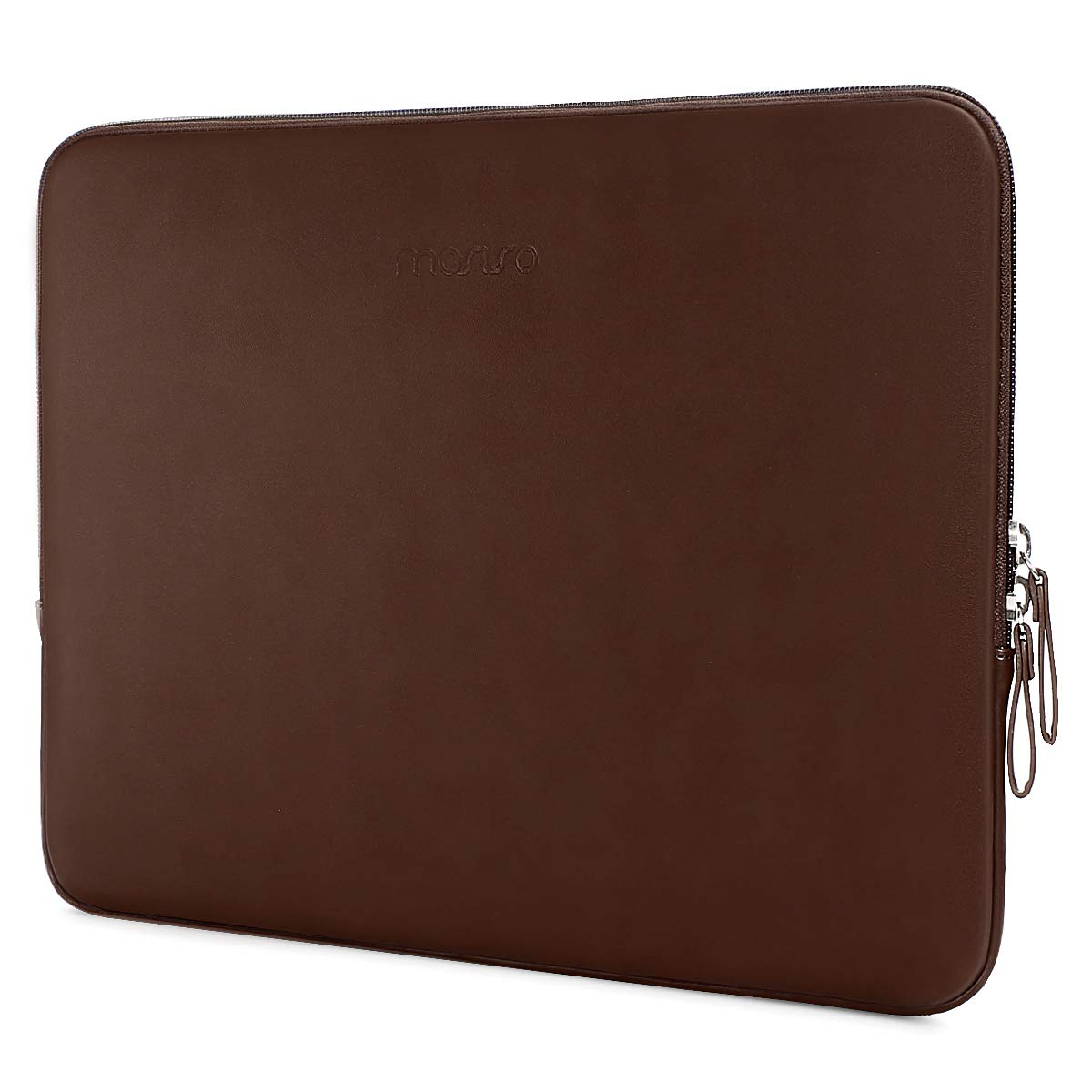 MOSISO Laptop Sleeve Compatible 13-13.3 Inch MacBook Pro Retina/MacBook Air/Surface Laptop 2 2018 2017/Surface Book, PU Leather Super Padded Bag Waterproof Protective Case, Coffee Brown