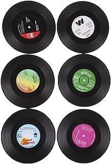 6x Coaster Copa Sostenedor de Bebida Mat Tabla Mantel Forma de CD Vinyl Record Redonda Vendimia