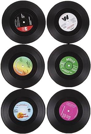 Generic 6x Rotonda Vintage CD Vinyl Record Sottobicchiere Della Tazza Supporto Della Bevanda Mat Tavolo