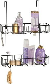 mDesign étagère de douche en métal anticorrosif – montage facile sur la porte de douche – serviteur de douche avec 2 nivea...