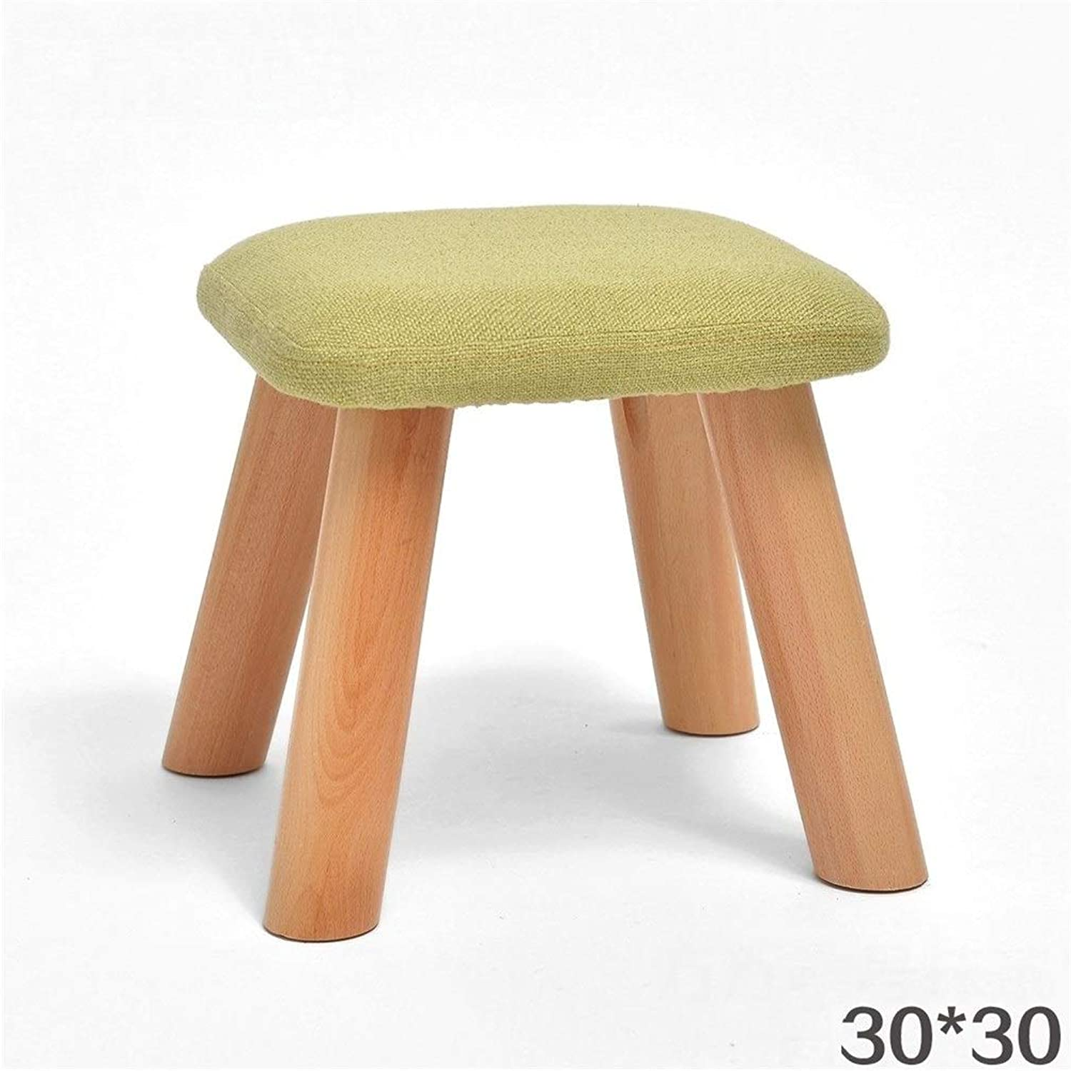 Solid Wood Cotton Linen Square Modern Stylish Simple Creative Sofa Living Room Bedroom Stool shoes Replacement Stool FENPING (color   B)