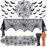TUPARKA 3 Piezas Decoraciones de Halloween Set, Spiderweb Rectangular Spooky Bat Mantel de Encaje, Spiderweb Redondo Cubierta de Mesa de Encaje y Chimenea Bufanda Cubierta para la Fiesta de Halloween
