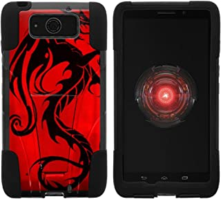 TurtleArmor | Compatible with Motorola Droid Maxx Case | Droid Ultra Case | XT1080 [Gel Max] Hybrid Dual Layer Hard Shell Kickstand Silicone Case - Red Dragon