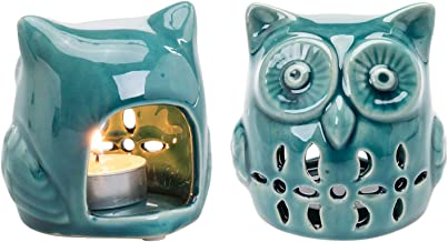 MyGift Teal Ceramic Owl Design Decorative Tealight Candle Holders, Set of 2