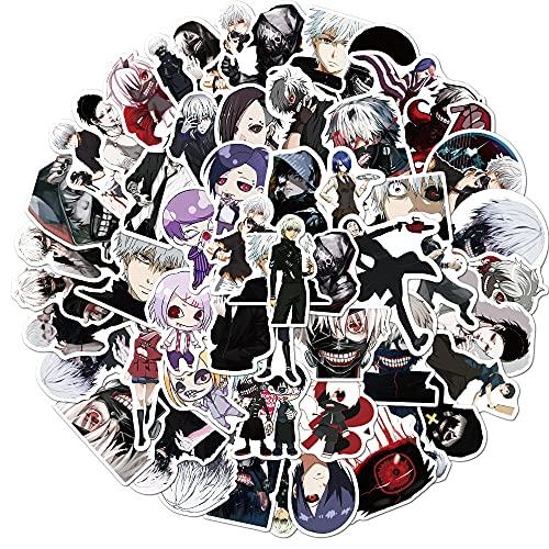 SHIHE Tokyo Ghoul Pegatinas de Anime Dibujos Animados geniales niños Guitarra monopatín Equipaje portátil Casco Impermeable Graffiti Pegatina Juguetes 50 Uds