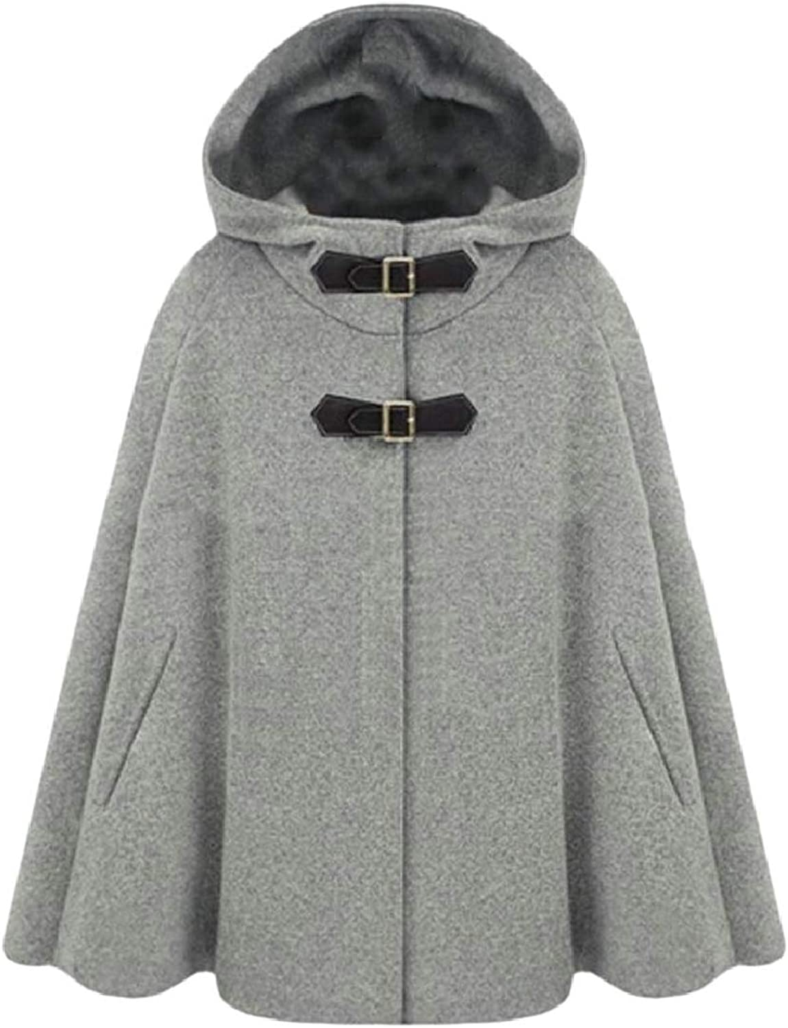 Xswsy XGCA Women's Cloak Winter Woolen Blend Poncho Pea Coat Outwear Hood
