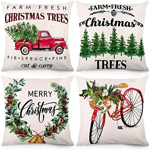 CDWERD Christmas Pillow Covers 18x18 Inches Farm Fresh Christmas Trees Christmas Decorations Farmhouse Pillowcase Cotton Linen Cushion Case for Home Décor Set of 4