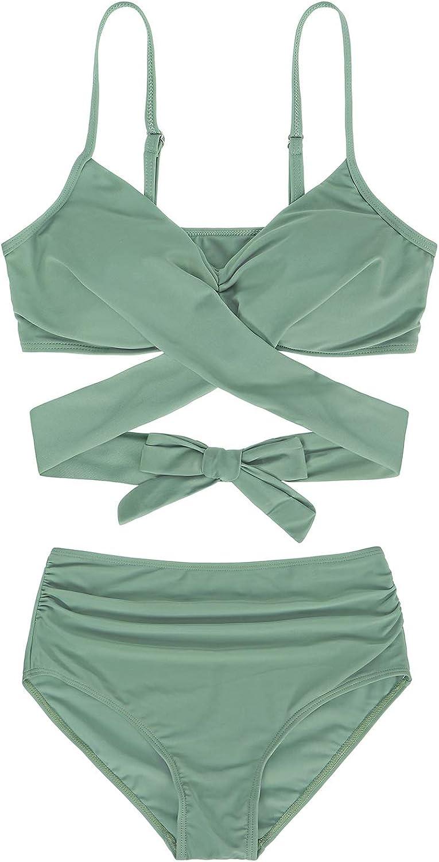 AmzBarley Womens Bathing Suit Srappy Cross Top High Waisted Bottom 2 Piece Bikini Set Tankini Swimwear Swimsuits