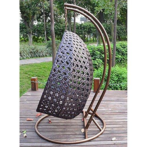 Home Deluxe – Polyrattan Hängesessel – Twin braun – inkl. Gestell, Sitz- und Rückenkissen | Hängestuhl Gartenschaukel Hängekorb - 3