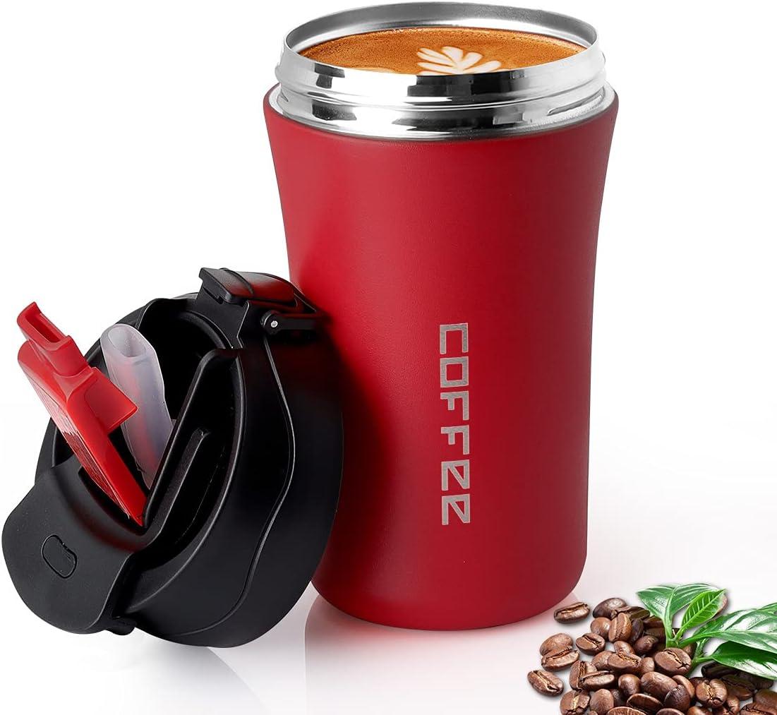 CS COSDDI - Termo con tapa y pajita, taza de café para llevar, a prueba de fugas al vacío, taza de viaje de acero inoxidable, 380 ml, para agua caliente y fría