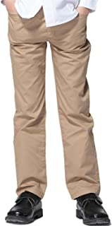 Boys Kids 100% Cotton Twill Elastic Waist Regular Fit Pants Trousers LLB451